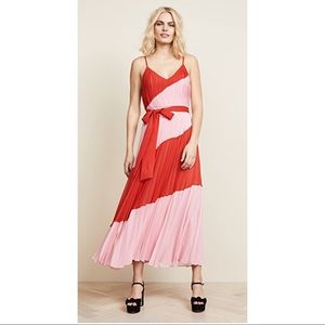 Alice and Olivia Color Block Pleated Dress